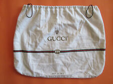 "Vintage Gucci White Drawstring Dust Bag Cotton 16 1/2"" by 12 1/2"" Made in Italy"