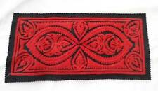 Small Vintage Table Runner Doily Red Kalocsa Embroidered Felt 14""