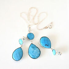 New Sterling Silver Genuine Pear & Ball Turquoise Drop Earring Pendant Set 18""