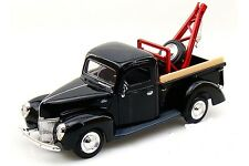 "MotorMax Tow Pickup Truck 1940 Ford 1:24 scale 8"" diecast model car BLACK M49"