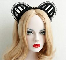 Halloween Cat Women Ears Lace Headband Crown Punk Gothic Emo Bat Queen Cosplay