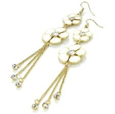 Cream Flower Long Earrings with Crystals