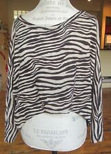 Brown and Tan Zebra Print Long Sleeve Loose Hi/Low Top