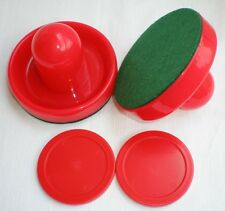 FREE SHIPPING 1SET Air Hockey Table 2 red Goalies Mallet Felt Pusher 2 red Puck