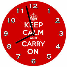 "8"" WALL CLOCK - Keep Calm and Carry On - Kitchen Office Bathroom Bar Bedroom"
