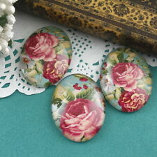 3x HUGE Glass Summer Rose Blossom Oval Cameo Cabochon 30x40mm-Group D