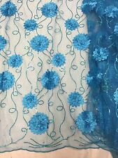 "TURQUOISE MESH W/FLORAL EMBROIDARY  SEQUINS LACE FABRIC  50"" WIDE 1 YARD"