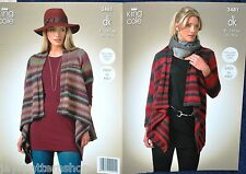 Ladies Double Knit Easy Knit Waterfall Cardigan Knitting Pattern 32 - 50 Inch