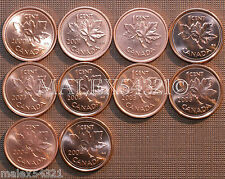 2000 TO 2004 BU CANADA 1 CENT MINT STATE (10 COINS)   FREE $HIPPING IN CANADA!