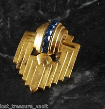 Vintage Dress CLip Brass Metal Sapphire Glass STones Shield Motif