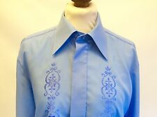 Vintage 1970s Frilly Front Blue Mens Dress Shirt 15 Collar 38 Chest
