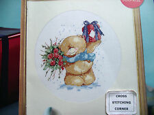 FOREVER FRIENDS BEAR WITH FLOWERS+GIFT SNOWY CHRISTMAS SCENE CROSS STITCH CHART
