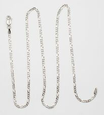 18k White Gold Figaro Chain Link Necklace