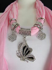 WOMEN FABRIC FASHION LIGHT PINK SCARF NECKLACE SILVER FLYING BUTTERFLY PENDANT