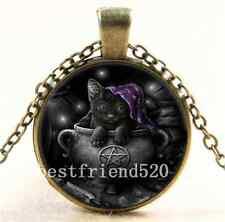 Vintage Black Cat Wicca Photo Cabochon Glass Bronze Chain Pendant  Necklace