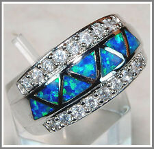 Australian Opal Inlay & White Topaz 925 Solid Genuine Sterling Silver Ring Sz 6
