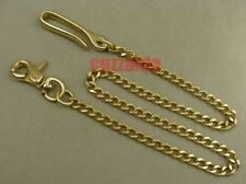 Golden Solid brass Pants Fob Wallet Chain fish hook Lobster clasps swivel
