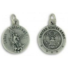 """US Army St Saint Michael Medal 0.75"""" w Rubber 18"""" Necklace NEW"""