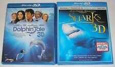 Blu-ray 3D Lot - Dolphin Tale 3D (Used) Sharks 3D (New)