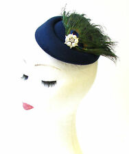Navy Blue Green Peacock Feather Pillbox Hat Fascinator Races Vintage Hair 1309