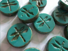 Czech Glass Dragonfly Coin Beads 17mm Round Green Turquoise w Brown Picasso Rims