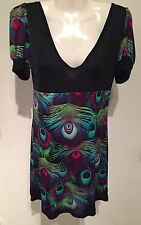 CUSTO BARCELONA Black Boho Peacock Feather Mini Empire Knit Dress Tunic SZ S