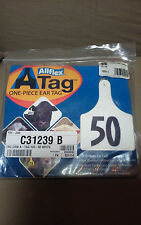 """EAR TAGS ALLFLEX  A-TAG """"ONE PIECE"""" 25 PACK # - #26 - #50 COW WHITE"""