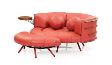 "60"" Round sofa light red brick italian leather waxed exotic wood hand crafted"