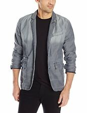 CALVIN KLEIN JEANS Mens Frosted Grey Denim Blazer Jacket 41QO412 (L) NWT $128