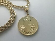 St Jude and Our Lady of Guadalupe Gold Plated Pendant and Necklace New
