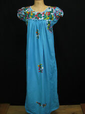 Vintage Blue Boho 70's Mexican Oaxacan Embroidered Long Cotton Tent Dress