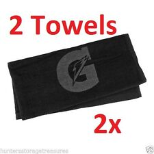 2 BLACK Gatorade Sports Towel Baseball Basketball Football Gym Golf Tone on Tone