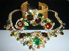 VTG JULIANA FOR HOBE COLORFUL RHINESTONE GOLD MESH NECKLACE BRACELET EARRING SET