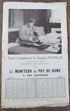 CALENDRIER 1917 MONITEUR DU PUY DE DOME GENERAL FAYOLLE