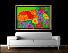 Walasse Ting RARE Large Original Acrylic Painting Hand Signed Cat Animal Artwork