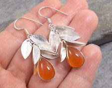 925 Silver CARNELIAN & Fluttering Leaves Earrings E482~Silverwave*uk Jewellery