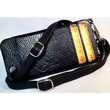 "iPhone 5,5s & NEW SE Black"" LUCIA"" Leather Case with Adjustable Leather Lanyard"