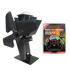Top quality Heat Powered 4 Blade Fan Wood Burning Stove Stove Pipe Thermometer