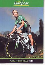 CYCLISME carte cycliste ANTHONY CHARTEAU équipe EUROPCAR 2011