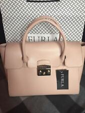 Furla Metropolis Satchel/Crossbody Medium Ares Leather Handbag in Beige