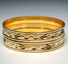 6x Indian 22KT GOLD/WHITE PLATED Bangle Bracelet SZ 2/6 =