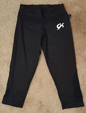 NEW! GK GymTek workout capri pants stretchtek techmesh AM Gymnastic Black C-3781
