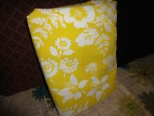 VINTAGE RETRO 70'S HIBISCUS GOLDISH YELLOW FLORAL FULL FLAT SHEET 78 X 94