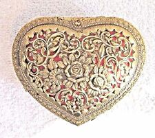 Vintage Gold Filigree Heart Shaped Music/Jewelry Box, Works Beautifully - Sankyo