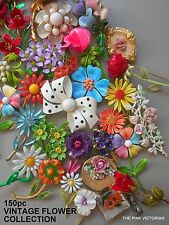 (150)pc VINTAGE metal ENAMEL flower pin BROOCH lot COLLECTION smaller SIZES pv22