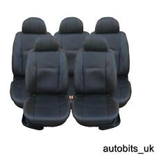 FULL SET BLACK LEATHER 5X SEAT COVERS FOR 5 SEATER RENAULT SCENIC KOLEOS