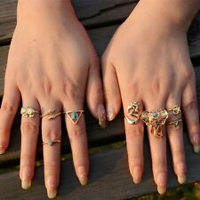 8 pcs GOLD BOHO ANTIQUE ETHNIC ELEPHANT Band Midi Mid Finger Ring Holiday