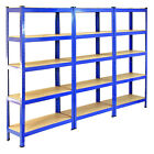 3 Racking Storage Shelving Heavy Duty Garage 5 Tier 75cm Steel Shelves Warehouse