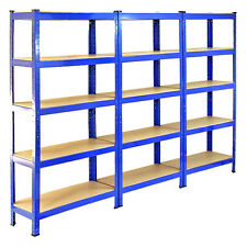 3 SCAFFALATURE GARAGE TRAVASO Heavy Duty BOLTLESS ACCIAIO warehouse UNIT 5 livello 75 cm