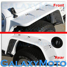 Jeep JK Wrangler Bright White Stubby Front+Rear Pocket Style+Rivet Fender Flares